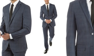 Alberto Cardinali Men's Plaid Slim-Fit Suit (2-Pc) (40Sx34W, 40Rx34W)