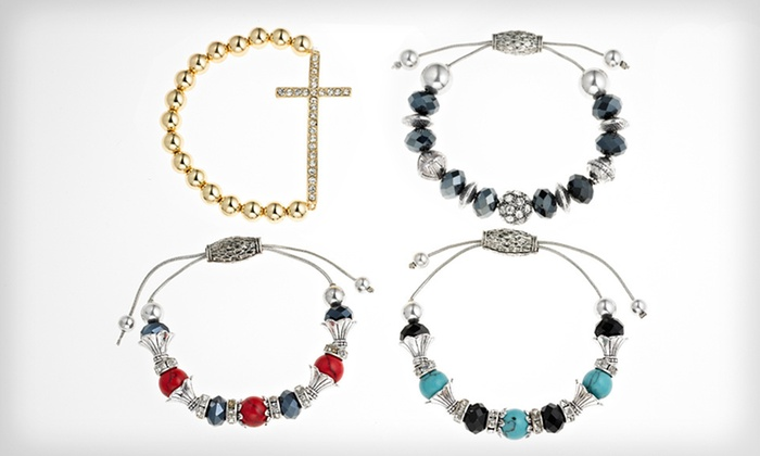 Bauble and Bead Bracelets: Sideways Cross Beaded Bracelets and Crystal Drawstring Bracelets (Half Off). Multiple Styles Available. Free Returns.