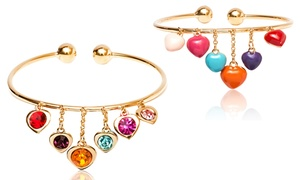 Swarovski Elements Reversible Heart Charm Cuff In 18k Gold Plated Brass