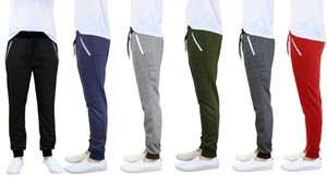 Men's French Terry Slim-Fit Joggers With Zipper Pockets (2-Pack)