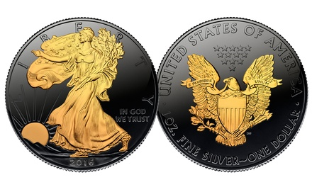 30th Anniversary Black Ruthenium 2016 American Silver Eagle U.S. Coin with 24K Gold Clad