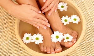 Angel Tips: Manicure with Basic Pedicure or Spa Pedicure at Angel Tips (Up to 51% Off)
