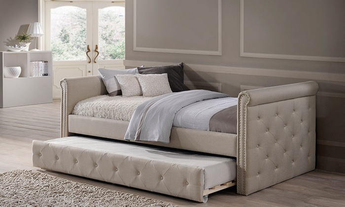 Fabric Tufted Daybed With Roll Out Trundle Bed Groupon