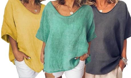 Camiseta casual de manga corta para mujer, disponible en 5 colores
