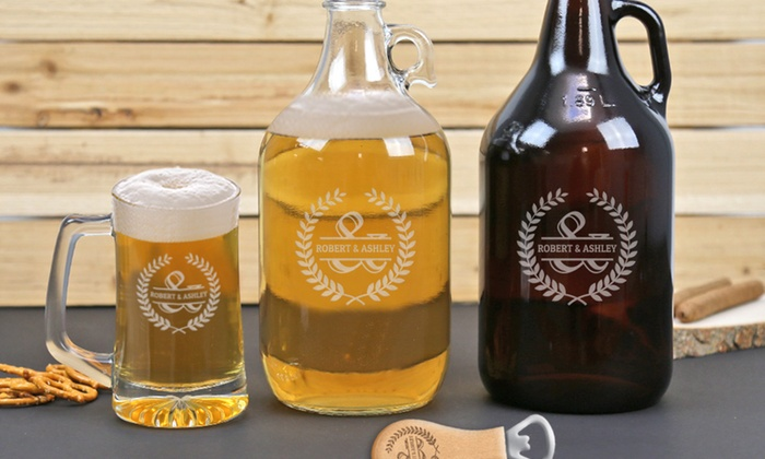 Monogram Online: Customized Bottle Opener, Beer Mugs, or Growler from Monogram Online (Up to 74% Off)
