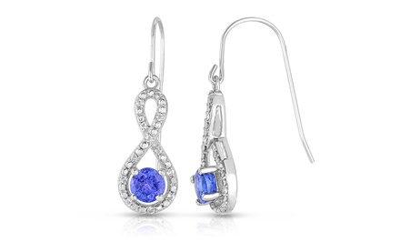 Tanzanite & Diamond Infinity Earrings in Sterling Silver