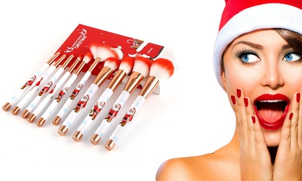 10-Piece Christmas Make-Up Brush Set: One ($17.95) or Two ($29.95)