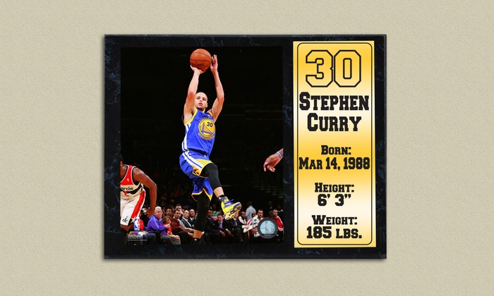 """Stephen Curry Golden State Warriors Photo Stat Plaque: Stephen Curry Golden State Warriors 12""""x15"""" Photo Stat Plaque"""