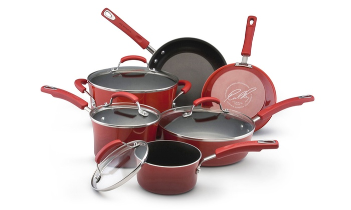 Temporary Price Cut: Rachael Ray Hard Enamel Nonstick Cookware Set (10-Piece)