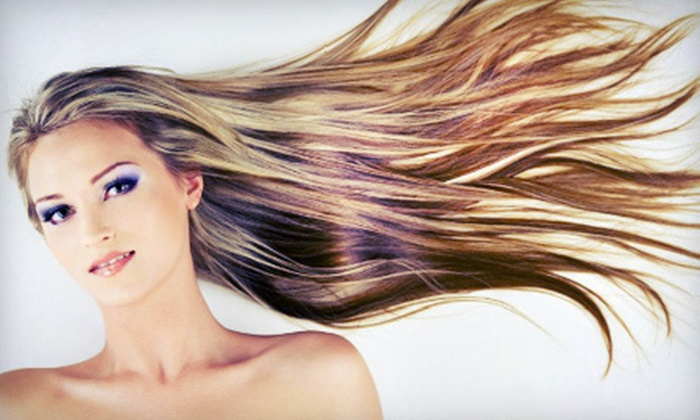 Beauty Escentuals - Raintree Village: Haircut with Optional Color or Partial or Full Highlights or Two Men's Haircuts at Beauty Escentuals (Up to 54% Off)
