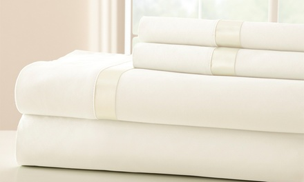 Fine Linens 400-Thread-Count 100% Cotton Sheet Set with Satin Band