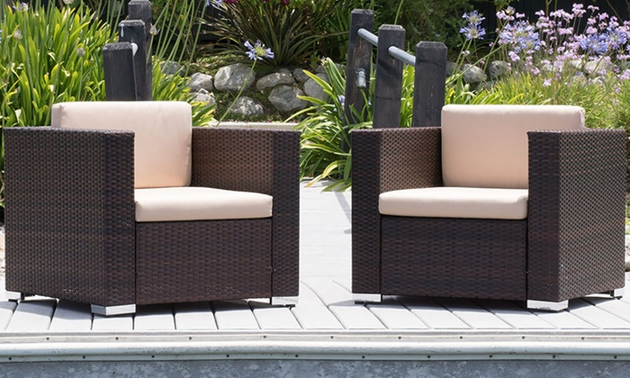 Outdoor sofa chairs set of 2 groupon goods for Outdoor furniture groupon