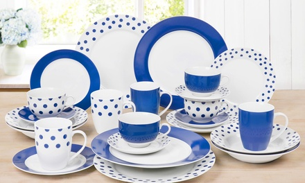24-Piece Blue Spotty Dinner Set for £36.98 (38% Off)