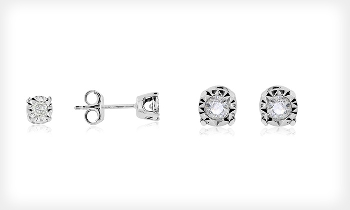 Anaya Gems 10-Karat White-Gold Diamond Stud Earrings. Two Styles Available. Free Shipping and Returns