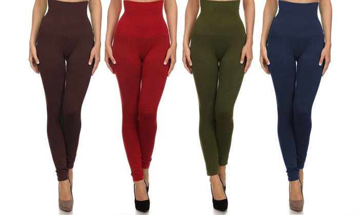 Women's High-Waist Compression Leggings (3-Pack) | Groupon