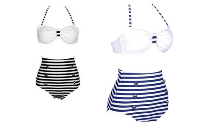 9c7e0925e0849 Navy Style High-Waisted Bikini ...