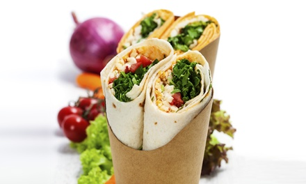 Wraps, Hoagies, and Baked Potatoes at Wrap'd Tight Gourmet Wraps & Salads (Up to 53% Off). Two Options Available.