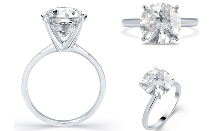 3.50, 3.75, or 4.75 CTTW Diamond Solitaire Rings in 18K White Gold