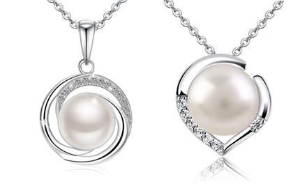 1 o 2 collares con perla de agua dulce y cristales