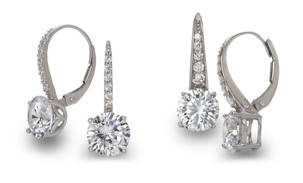 Diamante Sterling Silver and Cubic Zirconia Leverback Earrings. Multiple Options Available. Free Returns.