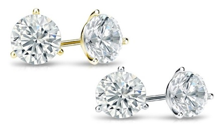 1.00 CT.TW. Certified Diamond Martini-Set Stud Earrings in 14K Gold