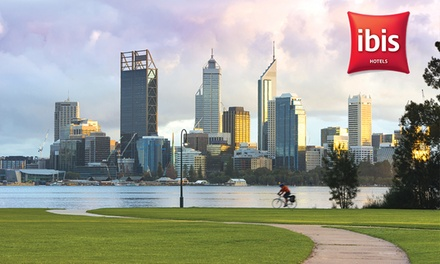 Perth, CBD: 1- or 2-Night Urban Getaway for Two People with Bottle of Wine and Late Check-Out at Ibis Perth Hotel