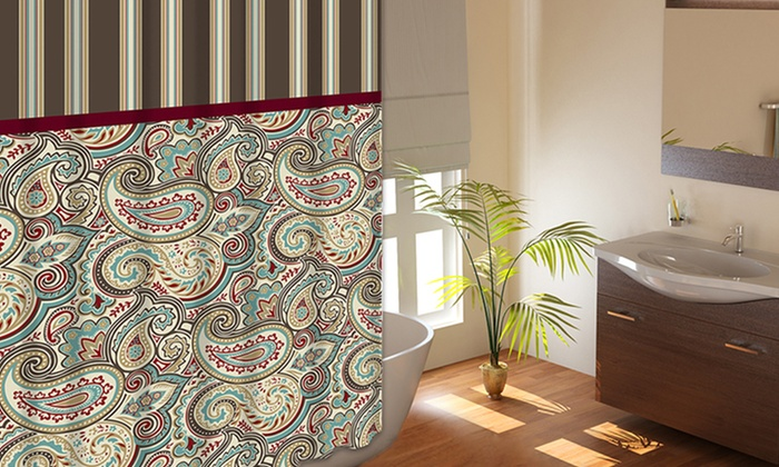 Creative Home Ideas Printed Fabric Shower Curtains with Rings: Creative Home Ideas Printed Fabric Shower Curtains with Metal Rings. Three Styles Available. Free Returns.