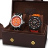 Joshua & Sons Men's Bold Multifunction Silicone Strap Watch Set (2pc)