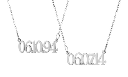 Sterling Silver Necklace Personalized with a Date, with Optional Diamonds, from Luce Mia (Up to 70% Off)