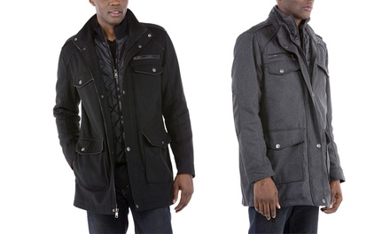 Urban Republic Men's Wool-Blend Military Coat with Quilted Bib (Sizes S & M)