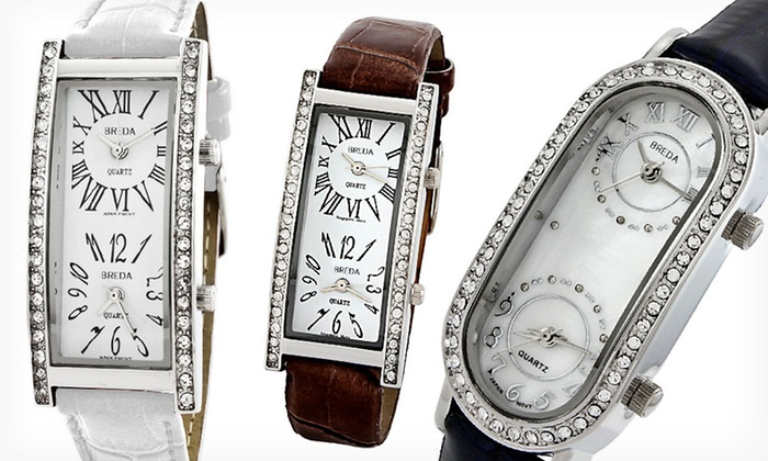 Breda Women's Dual Time Zone Watches: Breda Women's Dual Time Zone Watches (Up to 57% Off). 7 Styles Available.