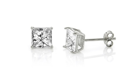 2-Carat Princess-Cut Cubic Zirconia Stud Earrings.