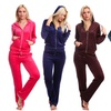 Women's Hooded Velour Track Suit with Rhinestone Zipper (2-Piece)