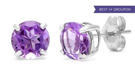 Sudbury 2 00 cttw genuine amethyst gemstone stud earrings