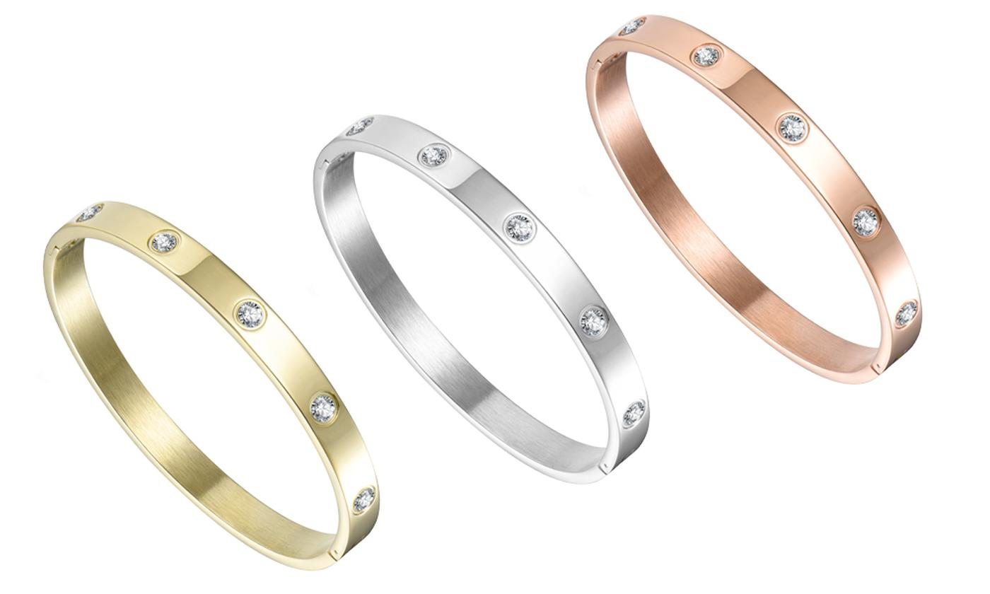 One, Two or Three Philip Jones Bangles with Crystals from Swarovski®