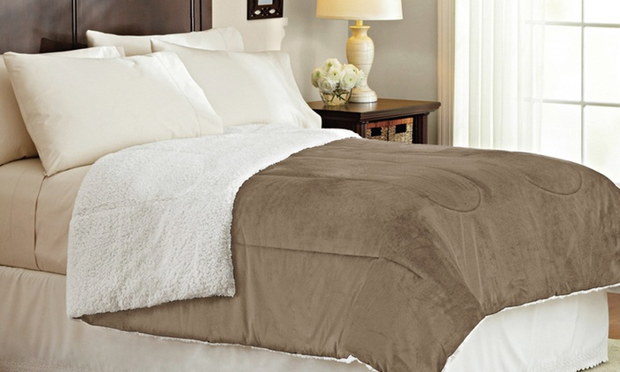 sherpa micro sets mink alton set arsenal lined to bedding plush twin fleece comforter