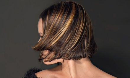 Haircut and Olive Oil Condition or Blowout with Color or Foil Highlights at Impressions Salon (Up to 61% Off)