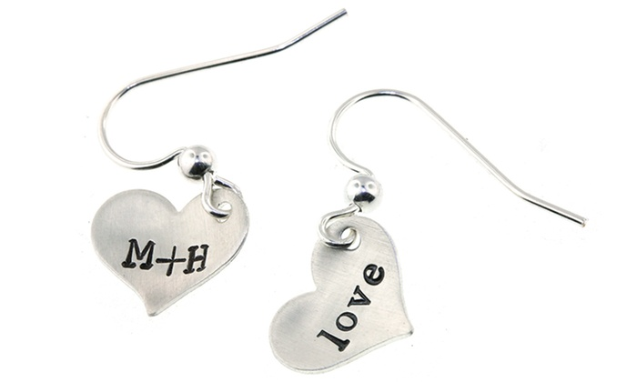 Hannah Design: Sterling Silver Heart Charm Earrings from Hannah Design