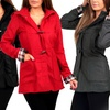Women's Long Toggle Coat with Plaid Lining