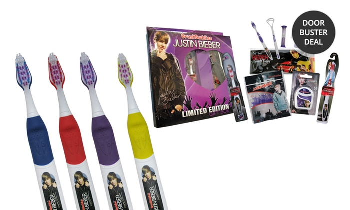 Justin Bieber Singing Toothbrushes, Microphone Floss, or Ultimate Giftbox: Justin Bieber Singing Toothbrushes, Microphone Floss, or Ultimate Giftbox. Multiple Options from $5.99–$13.99.