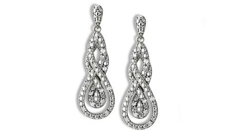 1/4 CTTW Diamond Intertwining Infinity Dangle Earrings