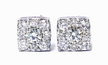 1.20 CTTW Cushion-Shaped Diamond Earrings in 14K Gold