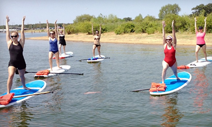 Float On Yoga - Multiple Locations: Standup-Paddleboard Yoga Class for One, Two, or Three from Float On Yoga (Up to 54% Off)