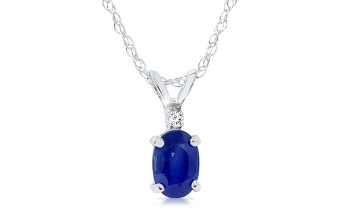 3/5 CTTW Blue Sapphire and Diamond Solitaire Pendant in 14K White Gold: 3/5 CTTW Blue Sapphire and Diamond Solitaire Pendant in 14K White Gold