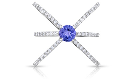 Tanzanite and Lab-Created White Sapphire Ring in Sterling Silver