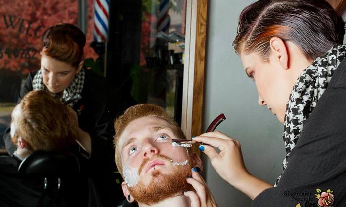 Sharmaine Nichole, Beauty & Barber - Browne's Addition: Men's Haircut and Straight-Razor Shave Packages from Sharmaine Nichole, Beauty & Barber (Up to 58% Off)