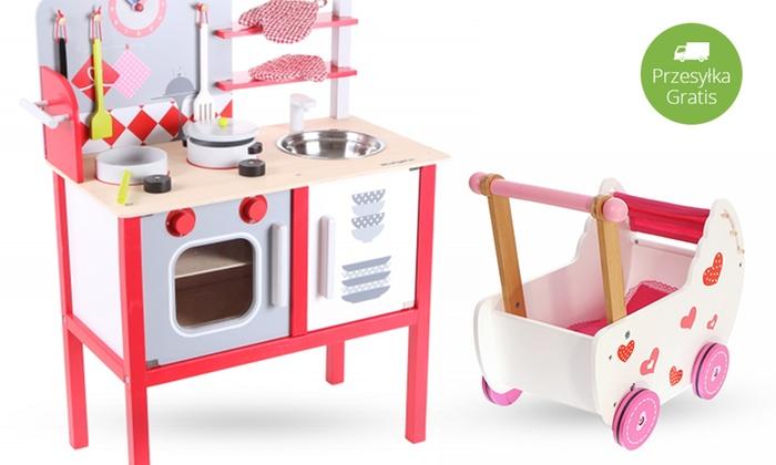 FunMarket Krystian Ślebioda: Od 149 zł: drewniane zabawki EcoToys – wózek dla lalek, kostka edukacyjna lub kuchnia