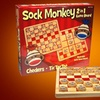 Sock Monkey Checkers & Tic-Tac-Toe Game Board