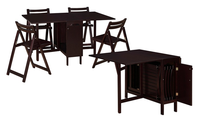 ... Linon 5 Piece Space Saver Folding Dining Set: Linon 5 Piece Space Saver