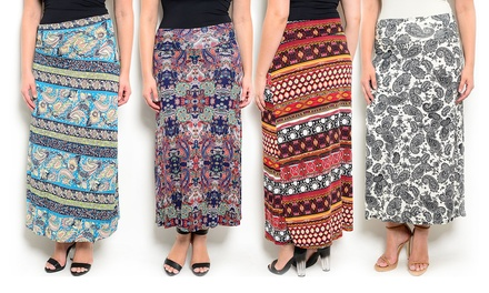 Women's Plus Size Printed Maxi Skirts